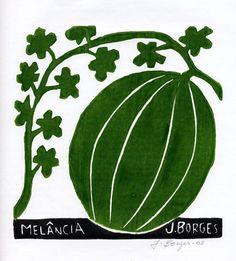 Melancia - José Francisco Borges (Brazil), Woodcut print on paper (7 1/2 x 7 1/2), 2008, 2009, 2011