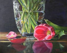 Acrylic Painting Demonstration – Reflections of Pink & Green