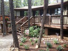 Flagstaff Cabin Rental   View Of The Deck With Hosta Garden