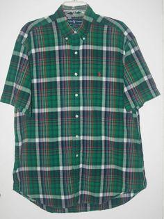 Ralph Lauren Blake Green Plaid Button Front Shirt Large Short Sleeve L #RalphLauren #ButtonFront