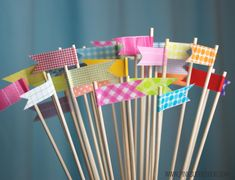 washi flags on wooden skewers - great for adding pizzazz to cupcakes, plants or pencil cups