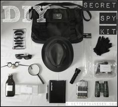 A DIY Secret Spy Kit. A great idea! Includes invisible ink too..lol. Great with my FBI unit study too. #fbiunitstudy #homeschool
