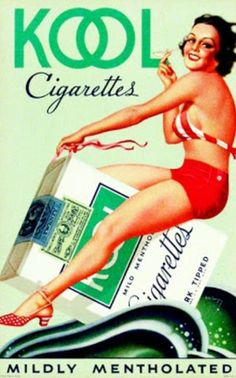 KOOL cigarettes (1950s).  Right before your eyes.  See the angle of cigarettes and the angle of her.  Pardon my language but she is surely f***ing those Kools.  That is subliminal advertising my friends.