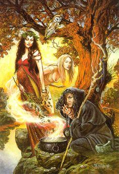 The Triple Goddess Art Print Briar Wiccan Art Maiden Mother Crone Maiden Mother Crone, Mother Goddess, Bild Tattoos, Pagan Art, Celtic Mythology, Baba Yaga, Goddess Art, Goddess Pagan, Pagan Gods