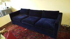 Milo Baughman Velvet Navy Couch MCM Mid Century —