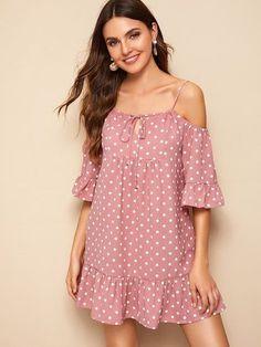 Product name: Open-Shoulder Ruffle Hem Dot Dress at SHEIN, Category: Dresses Short Outfits, Dress Outfits, Fashion Dresses, Cute Dresses, Casual Dresses, Summer Dresses, Frack, Couture, Dot Dress