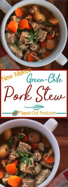 Green Chile Pork Stew is a hearty meal and a great dish to make 1-2 days in advance in the slow-cooker! via @FlippedOut Food.