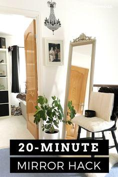 Ornate full length mirror with black and white landing decor Landing Decor, Hallway Flooring, Console Styling, White Mirror, Standing Mirror, Hallway Decorating, Suzy, Homemaking, Modern Decor