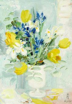 Le Pho (1907-2001) Bouquet avec irises, jonquilles et tulipes 18 1/8 x 13 1/8 in (46 x 33.2 cm)