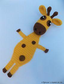 Patroon Boekenlegger Giraffe Benodigheden : Catania geel 208 Catania bruin 157 Haaknaald 3 Restjes vilt Textiellijm Vul...