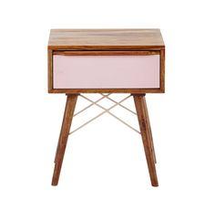 Nachttisch aus massivem Sheeshamholz mit Schublade, B 42cm, rosa Nina