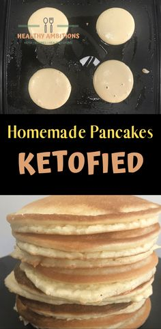 Easy Keto Pancake Recipe that can be whipped up in the blender. Keto, Low-Carb, Gluten-Free, Grain-F Homemade Pancakes, Keto Pancakes, Low Carb Keto, Low Carb Recipes, Healthy Recipes, Protein Recipes, Diet Recipes, Smoothie Recipes, Lunch Recipes