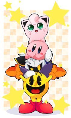 Pacman, Jigglypuff, Meta Knight and Kirby - Super Smash Bros, pixiv