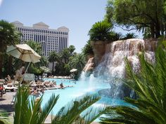 The Mirage is a 3,044 room Polynesian-themed hotel and night club placed on the Las Vegas Strip. The pool and waterfalls definitely create tropical feeling.
