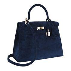 Hermes Kelly Bag in blue Doblis suede