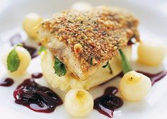 Wild Sea Bass with a pine nut crust & red wine shallots, parsnip purée & baby turnips from Marcus Wareing at the Berkley