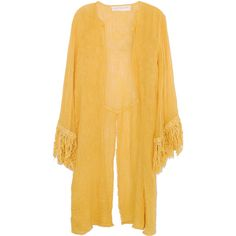 Jen's Pirate Booty Java Kimono Jacket in Yellow ($40) ❤ liked on Polyvore featuring outerwear, jackets, kimono, cardigans, sweaters, jens pirate booty, fringe kimono, long sleeve kimono, fringe kimono jacket e yellow jacket