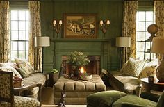 green-painted-walls-wood-paneling-colonial-style-decorating ...