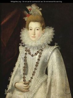 Portrait Of A Lady, Half Length, Wearing A White Richly Embroidered Dress And Holding A Necklace - (after) Alonso Sanchez Coello