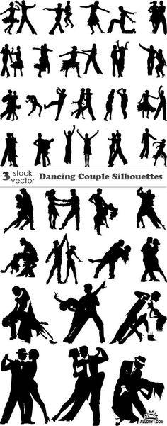 Vectors - Dancing Couple Silhouettes