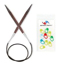 Knitters Pride Bundle Cubics Circular 32inch 80cm Knitting Needles Size US 8 50mm with 10 Artsiga Crafts Stitch Markers 300236 * Details can be found by clicking on the image.Note:It is affiliate link to Amazon. #KnittingCrochet
