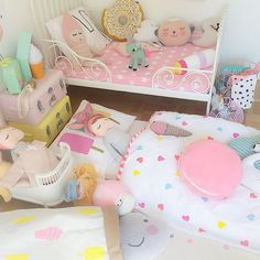 IKEA extendable bed, metal bed and furnishings, Kmart, colourful, sweet Big Girl Bedrooms, Little Girl Rooms, Baby Bedroom, Girls Bedroom, Bedroom Ideas, Childrens Room, Deco Kids, Princess Room, Kids Decor