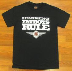 HARLEY DAVIDSON HD BLACK FATBOYS RULE T-SHIRT BIKE SHORT SLEEVE