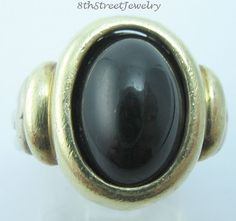 estate david yurman sterling silver 925 u0026 585 14k gold black onyx ring size 6