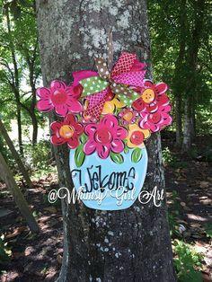 Flower Vase Door Hanger by WhimsyGirlArt on Etsy Wooden Door Signs, Wooden Door Hangers, Wooden Doors, Burlap Crafts, Wooden Crafts, Diy Crafts, Burlap Door Hangings, Wood Wreath, Wooden Cutouts