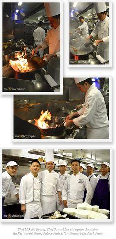 Chef Mok Kit Keung (2*) du Kowloon Shangri-La Hotel, Hong Kong, Chef Samuel Lee et l'équipe de Cuisine du SHANG PALACE (1*), restaurant du Shangri-La Hotel, Paris.