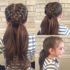 My little one has gym today and wanted something easy and that would last all day. I did 2 french braids crossed them over into pigtails. I… The Effective Pictures We Offer You About Kids Hairstyles w Girls Hairdos, Baby Girl Hairstyles, Princess Hairstyles, Hairstyles For School, Teenage Hairstyles, Hair Dos For School, Easy Little Girl Hairstyles, Girl Haircuts, Girls Braids