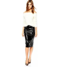 ASOS Pencil Skirt in Black Patent Leather