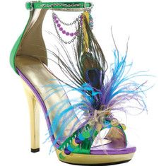 This is a festive and funky 5  stiletto heel Mardi Gras sandal with a 0.75  platform with beads and feather embellishments.