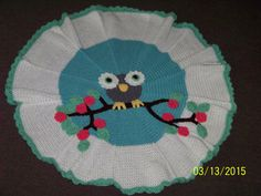 Round owl baby blanket blue gray white pink by MadeinMassachusetts