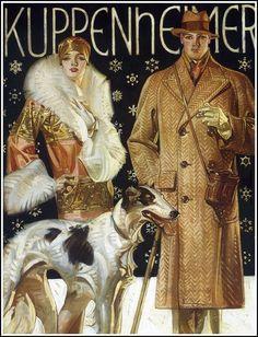 J.C. Leyendecker, a stroll in the snow, 1925
