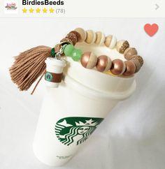 Personalized Starbucks bead bracelet