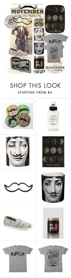 """""""It's nearly Movember!!"""" by ee-brown ❤ liked on Polyvore featuring PENHALIGON'S, Fornasetti, OMM Design, TOMS, Uppercut Deluxe, Target, men's fashion, menswear, moustache and Movember"""