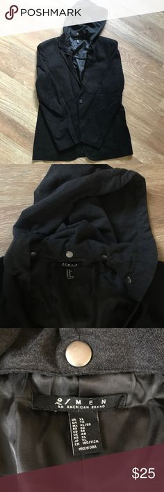 "21 Men Blazer Hoodie Jacket Sz XL Black Blazer with detachable dark charcoal gray drawstring hood. 3 front packets and 3 inner pockets. Great condition! Only used once. Approximate measurements: Shoulder to bottom of coat 30"", pit to pit 23"", pit to armhole 18 1/2"" 21men Suits & Blazers Sport Coats & Blazers"