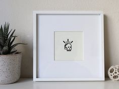 Tiny Skull Letterpress Print - Framed