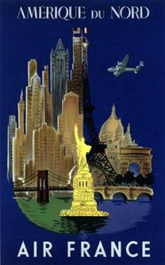 #Air France - North America, vintage travel posters