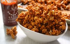 Siracha Caramel Corn - Can't turn down any popcorn recipe!