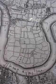 1747 Isle of Dogs as shown in John Rocque's map of LondonI , showing the area before development. The Isle of Dogs was originally sparsely populated marshland before its drainage and planting in the century. Old Maps Of London, London Map, London Places, Old London, London City, Victorian London, Vintage London, London Pictures, London Photos