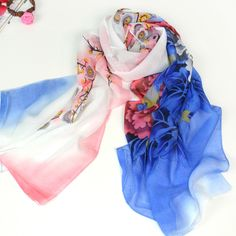 >> Click to Buy << Min. order is $5 / Long design silk scarf blooping riches and chiffon silk thin scarf female spring and autumn scarf cape dual #Affiliate