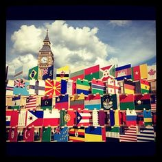 Each nation competing in the Olympics are represented in this House of Flags outside Parliament. Can you spot USA? #olympics #waywire