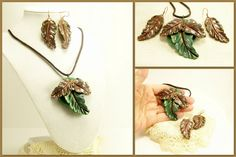 Clay Leaf Jewelry Set, Necklace and Earring Set, Woodland Jewelry, Fun Jewelry, Cruise Jewelry, Affordable Handmade Polymer Clay Jewelry by BobblesByCarol, $31.00 USD