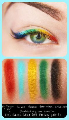 Create a rainbow eyeliner effect by painting on eyeshadow with a thin, wet brush. Jangsara used Lime Crime's Chinadoll eyeshadow palette.