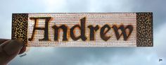Stained Glass Window Fragment, Name, Andrew, hand painted fragment : 10M25