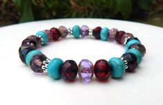 About the Bracelet Vibrant colorful czech beads with turquoise howlite give this boho bracelet a joyful and slightly sassy appeal. Bracelet Details: This beautiful gemstone bracelet is made with: - 8x