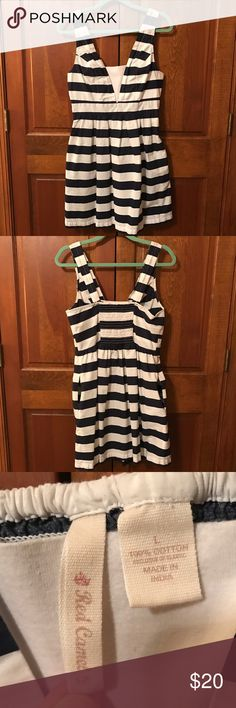 Summery Navy Stripe Sun Dress navy/white color, stripes, has pockets, juniors size L, above the knee, great condition, smoke free home Red Camel Dresses Mini