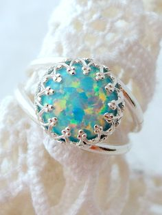 Mint opal ring | Silver opal ring | Gemstone ring by EldorTinaJewelry | http://etsy.me/1LvZbVN